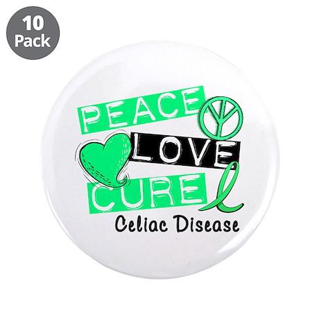 """PEACE LOVE CURE Celiac Disease (L1) 3.5"""" Button (1"""