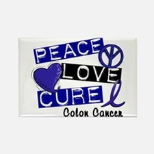 PEACE LOVE CURE Colon Cancer Rectangle Magnet