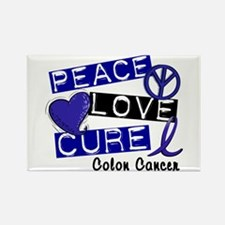PEACE LOVE CURE Colon Cancer Rectangle Magnet