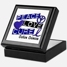 PEACE LOVE CURE Colon Cancer Keepsake Box