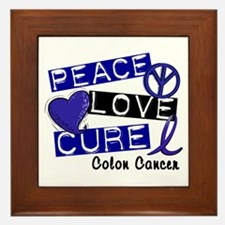 PEACE LOVE CURE Colon Cancer Framed Tile