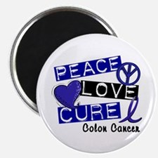 """PEACE LOVE CURE Colon Cancer 2.25"""" Magnet (10 pack"""