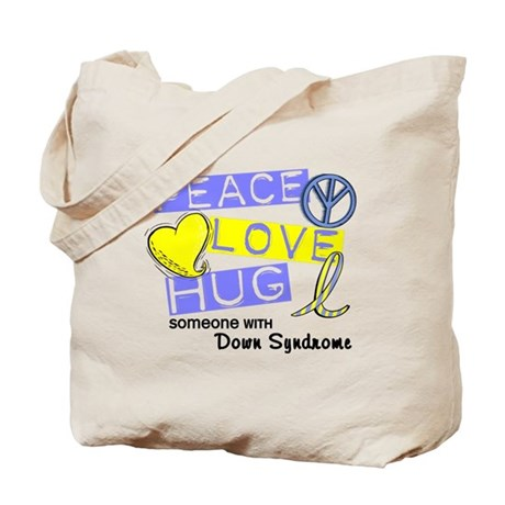 PEACE LOVE CURE Down Syndrome (L1) Tote Bag