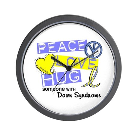 PEACE LOVE CURE Down Syndrome (L1) Wall Clock
