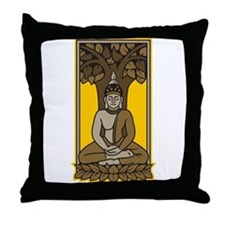Buddha Under Bodhi Tree Throw Pillow