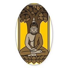 Buddha Under Bodhi Tree Oval Decal