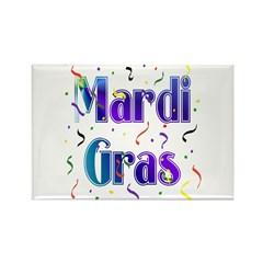 Mardi Gras With Confetti Rectangle Magnet (10 pack