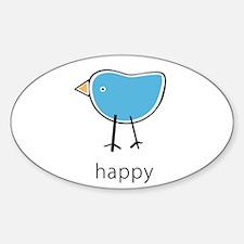 happy blue bird Oval Decal