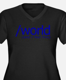 End of the World Women's Plus Size V-Neck Dark T-S