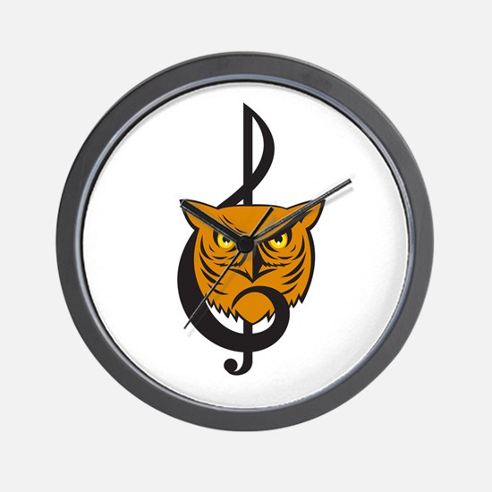 Great Horned Owl Head Musical Note Wall Clock