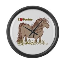I Love Ponies Large Wall Clock