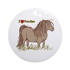 I Love Ponies Ornament (Round)