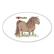 I Love Ponies Oval Decal
