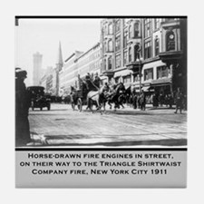 Vintage Photo of NYC Fire Brigade 1911 Tile Coaste