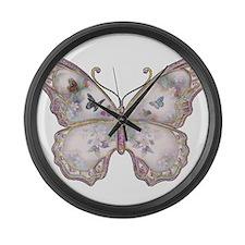 Purple Butterfly Large Wall Clock