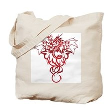 Red Tribal Dragon Tote Bag