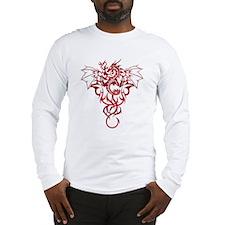 Red Tribal Dragon Long Sleeve T-Shirt