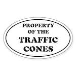 Traffic Cones Property. Oval Sticker