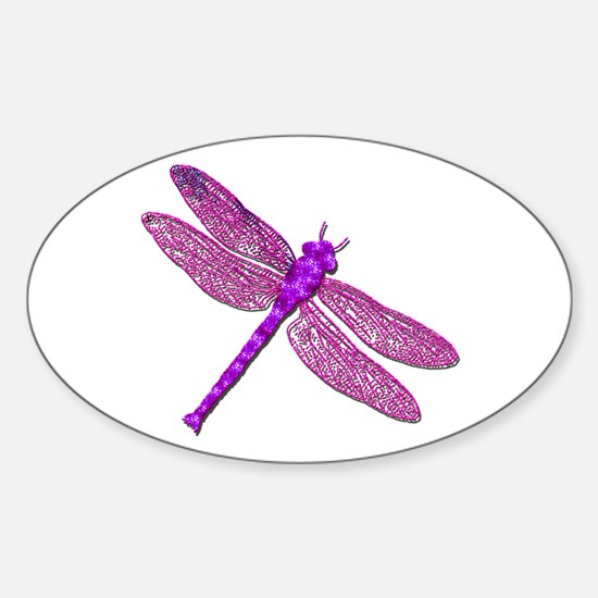 Pink Dragonfly Oval Decal