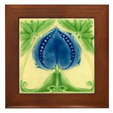 Art Nouveau Blue Floral Framed Tile Plaque