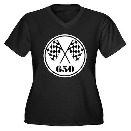 650 Women's Plus Size V-Neck Dark T-Shirt