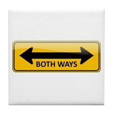 Both Ways Sign Tile Coaster