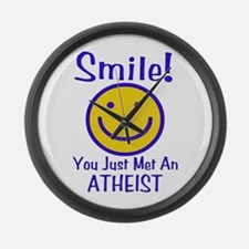 Atheist Smiley Face Large Wall Clock