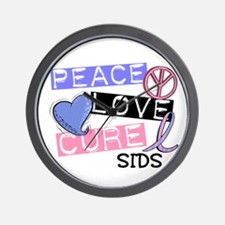 PEACE LOVE CURE SIDS Wall Clock