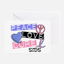 PEACE LOVE CURE SIDS Greeting Card