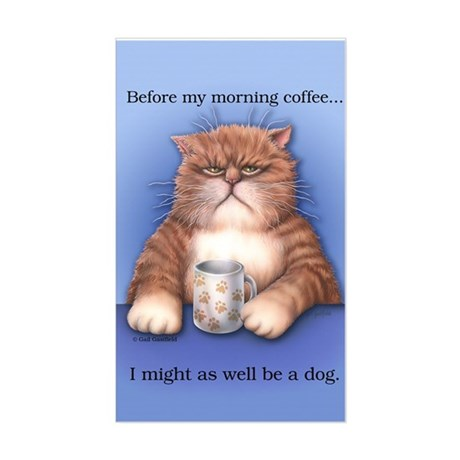 Coffee Cat Sticker (Rectangle)