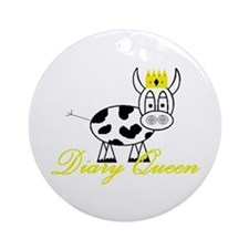 Cute Cow milk cheese Ornament (Round)