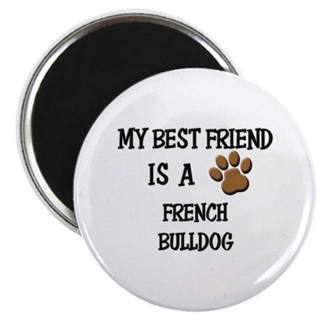 """My best friend is a FRENCH BULLDOG 2.25"""" Magnet (1"""