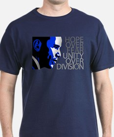 Obama - Hope Over Division - Blue T-Shirt