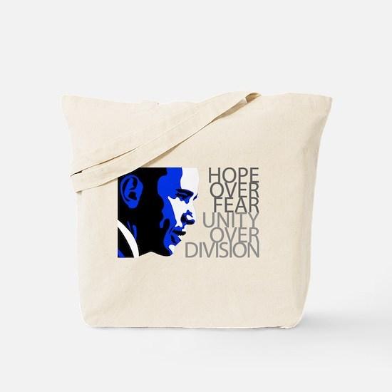 Obama - Hope Over Division - Blue Tote Bag