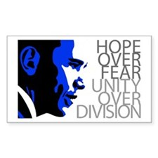 Obama - Hope Over Division - Blue Decal