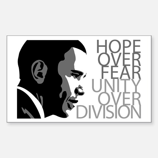 Obama - Hope Over Division - Grey Decal