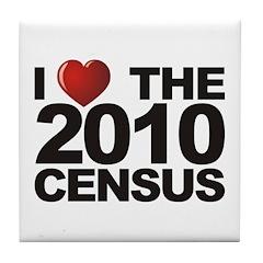 I Love The 2010 Census Tile Coaster