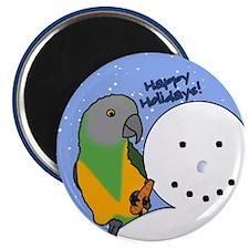 Snowman Senegal Parrot Christmas Magnet