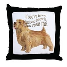 happy norfolk terrier Throw Pillow