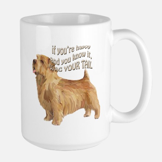 happy norfolk terrier Large Mug