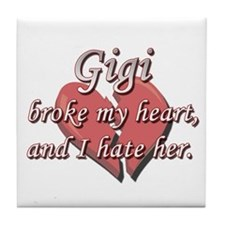 Gigi broke my heart and I hate her Tile Coaster