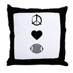 Peace, Love, & Football Throw Pillow