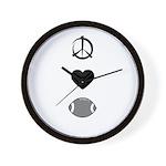 Peace, Love, & Football Wall Clock