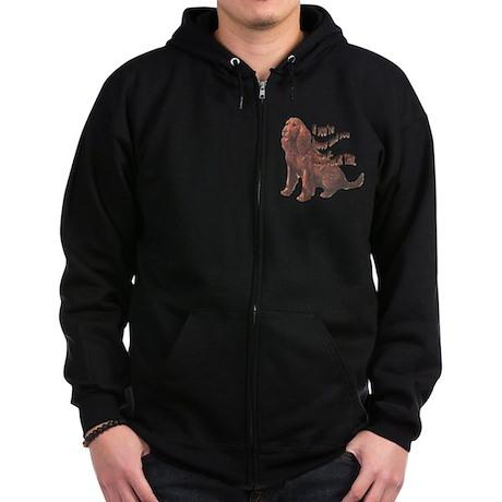 Happy American Water Spaniel Zip Hoodie (dark)