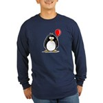 Red Balloon Penguin Long Sleeve Dark T-Shirt