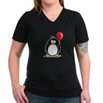 Red Balloon Penguin Women's V-Neck Dark T-Shirt