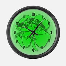 Shamrock Girl Large Wall Clock