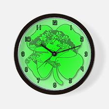 Shamrock Girl Wall Clock
