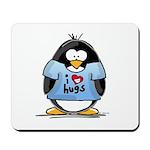 I Love Hugs Penguin Mousepad