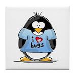 I Love Hugs Penguin Tile Coaster